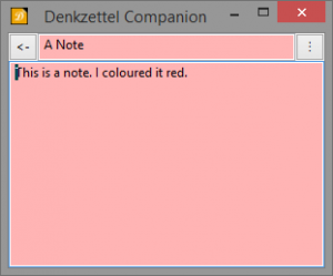A note, colored red